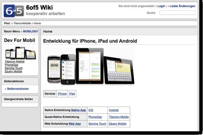 Entwicklung fuer iPhone, iPad und Android (6of5 Wiki Raum)