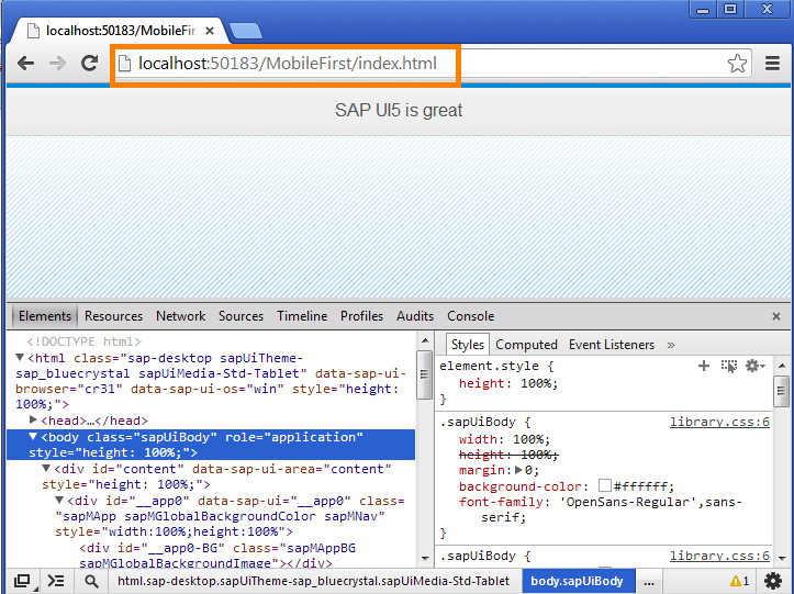 UI5 App in Chrome
