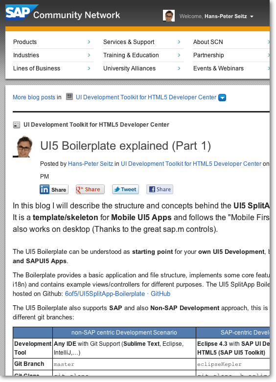 UI5 Boilerplate on SCN